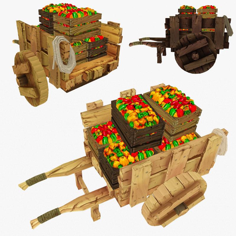 3d wooden cart pepper polys model