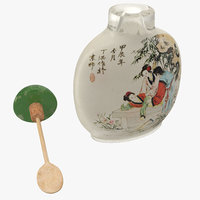 Chinese Snuff Bottle with Spoon 3D Model