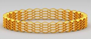 3d model of golden bracelet