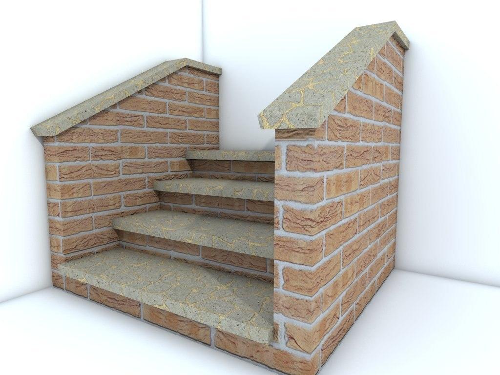 3d brick step model