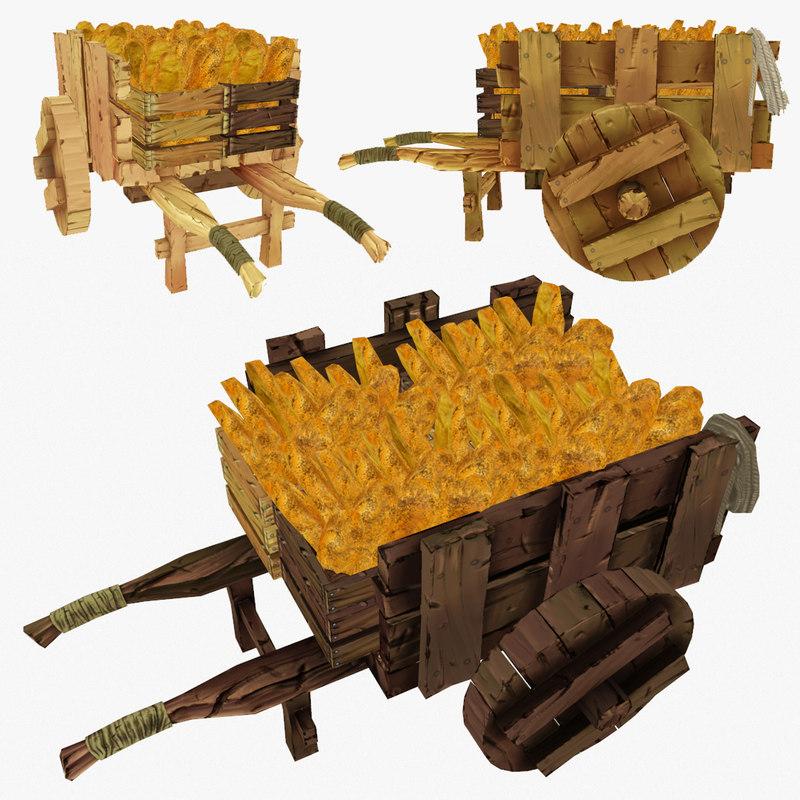 wooden cart bread polys obj