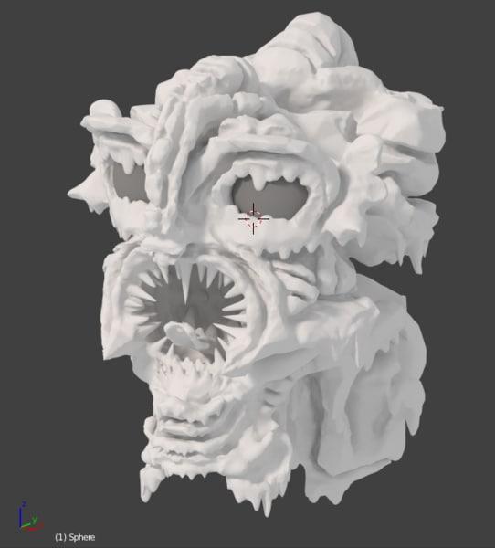 swamp monster head melting 3d model