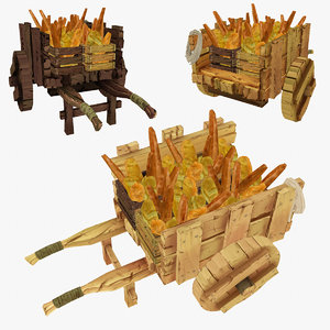 wooden cart assorted bread 3d model