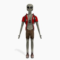 grey alien tourist 3d obj