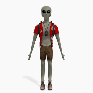 grey alien tourist 3d obj