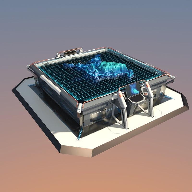 futuristic table 3d model