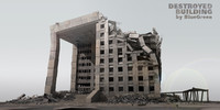 destroyed building 3d 3ds