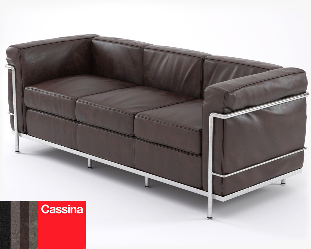 3d le corbusier sofa lc2 for Le corbusier sofa nachbau