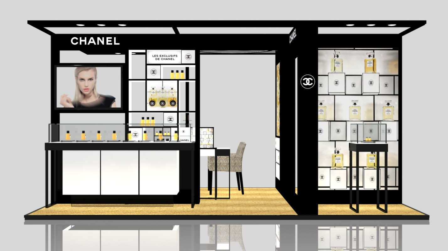 3ds max exhibition stand chanel gum