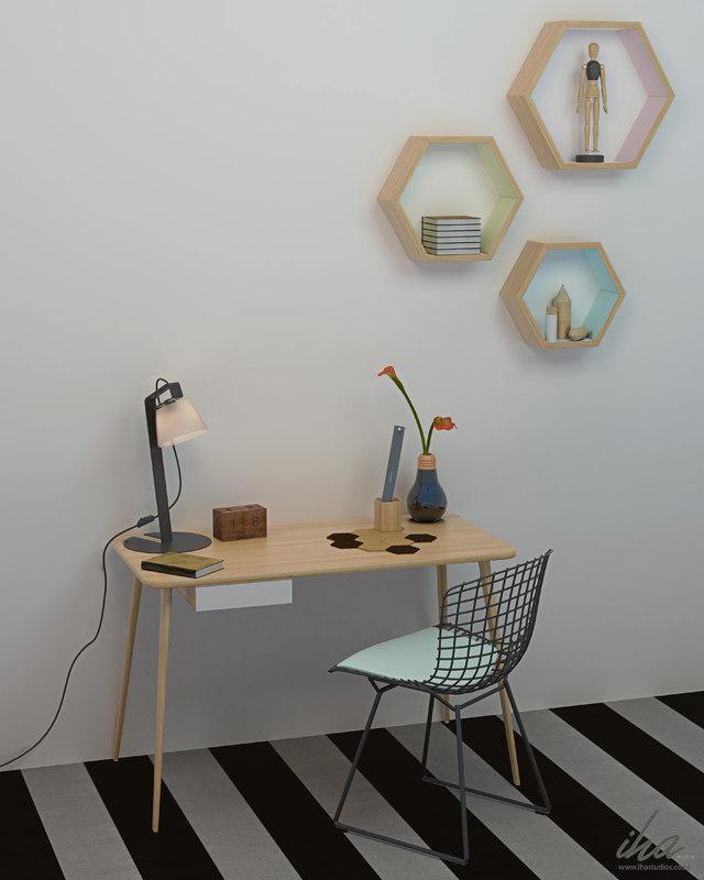 3d model contemporary desk decor