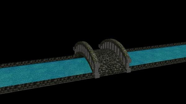 3d bridge river ancient model