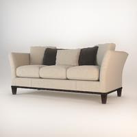 3d model baker flared arm sofa