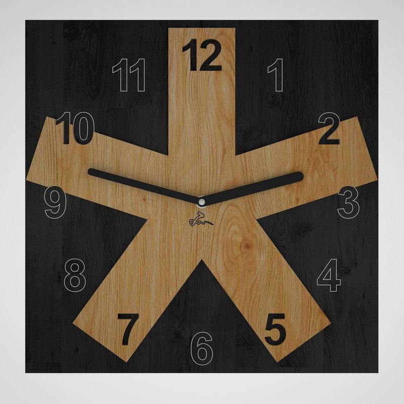 wall clock black 3d model