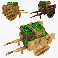 3d wooden cart green peppers