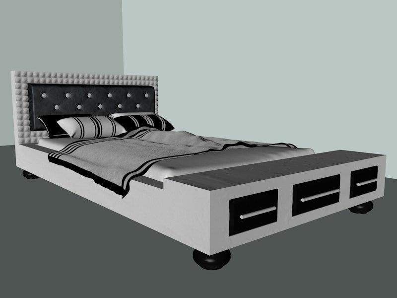 wooden bed c4d