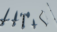 medieval weapon set 3d 3ds