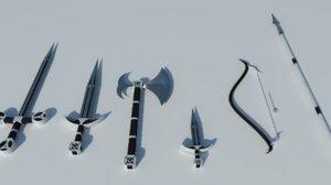 medieval weapon set 3d 3ds