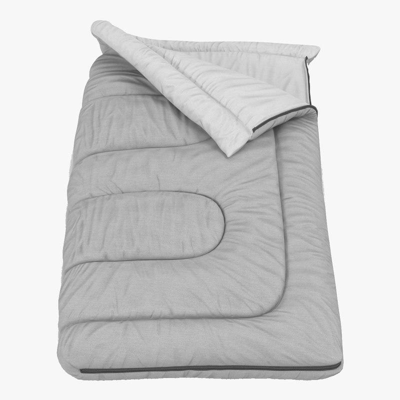 3d grey sleeping bag model