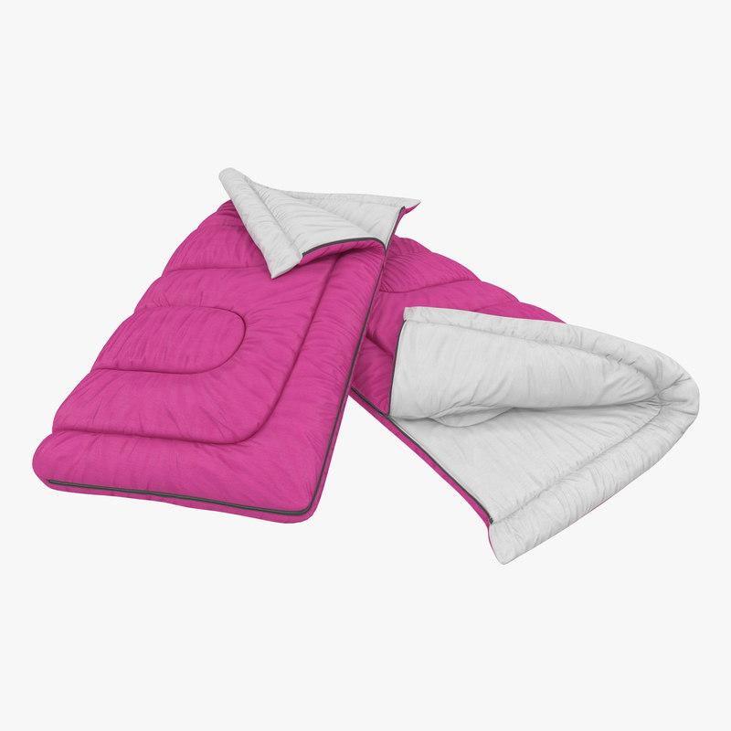 3d sleeping bag pink modeled model