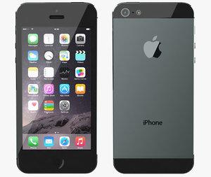 3d model apple iphone 5 black
