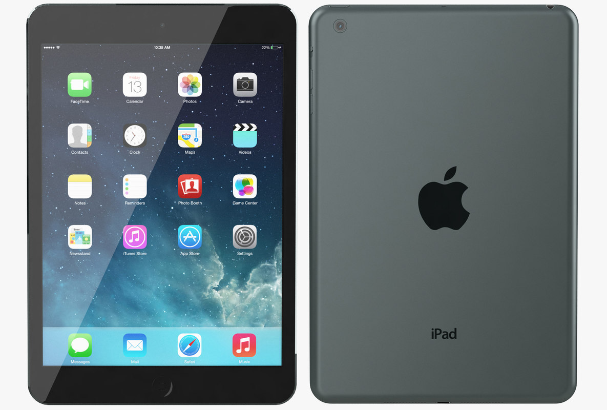 3d apple ipad mini black model