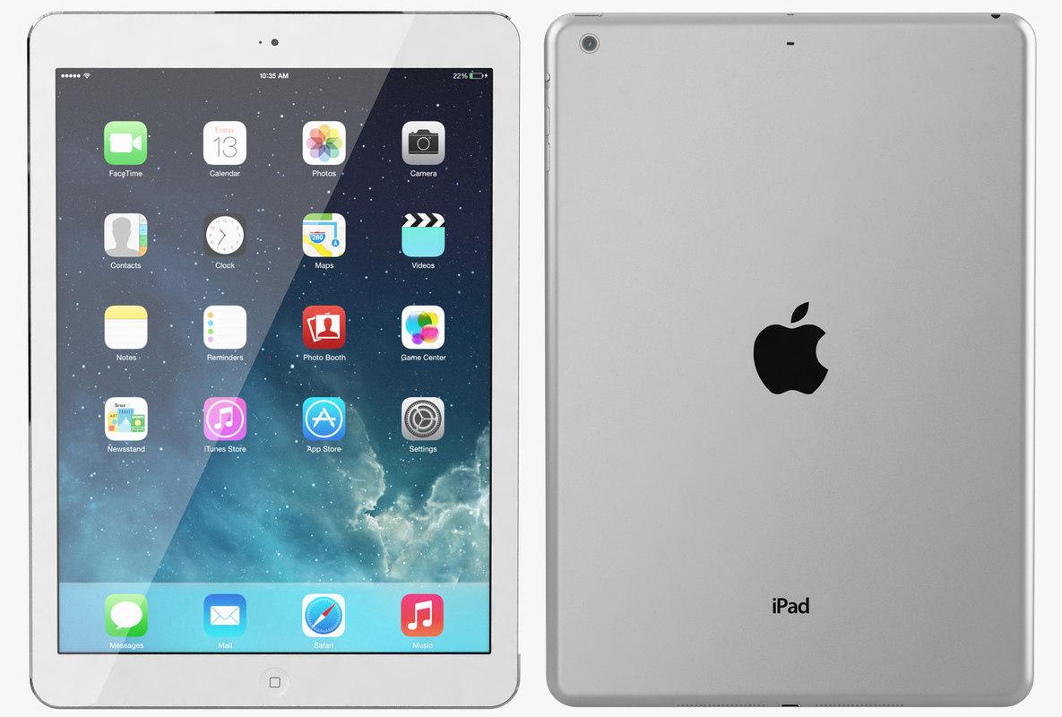 3d model apple ipad air silver