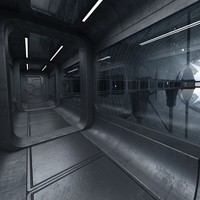 sci fi mathership scene interior 3d model