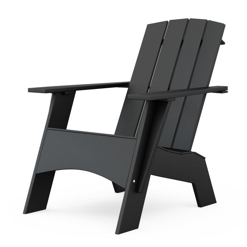 4-slat tall adirondack chair 3d model
