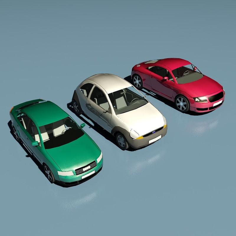 3 cars polys 3d model