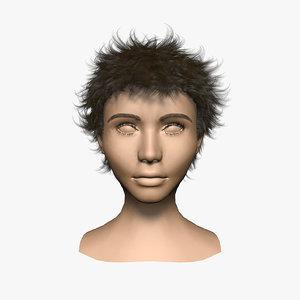 3d model haircut women 001 hair fur