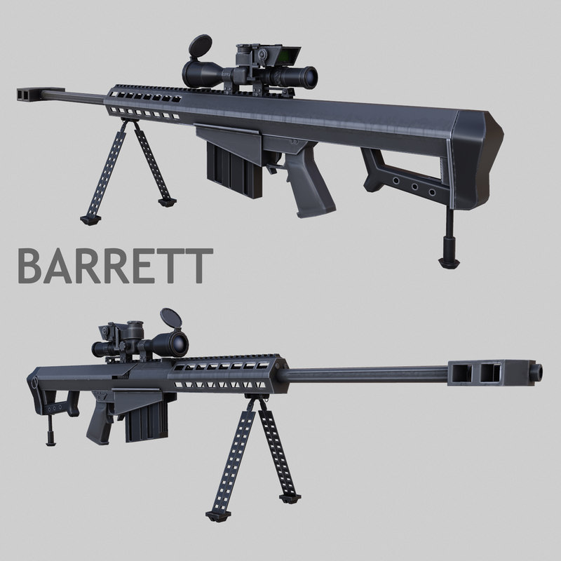 sniper rifle barret m107 3d model