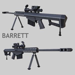 sniper rifle barret m107 3d model