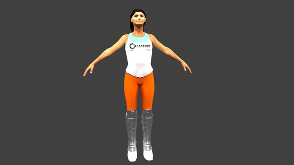 chell rigged 3d model