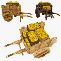 obj wooden cart lemons polys