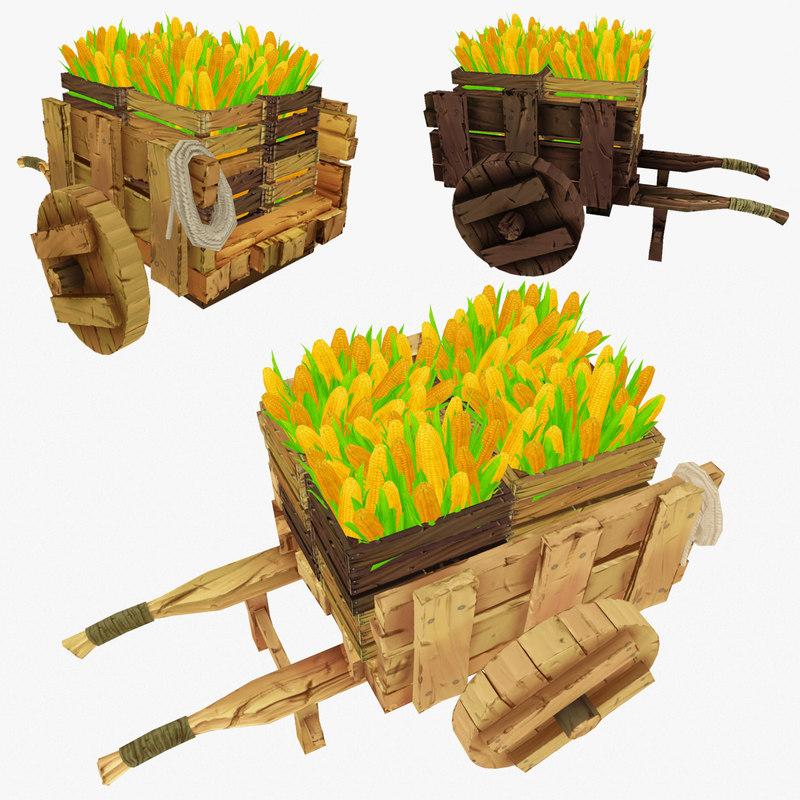 3d wooden cart corn
