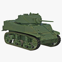 M5A1 Stuart Light WWII US Tank 3D Model
