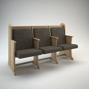 pew bench churches synagogues 3d model