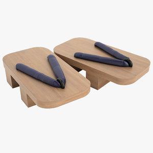 3d model geta sandals japanese