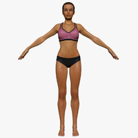 3d fitness athlete female model