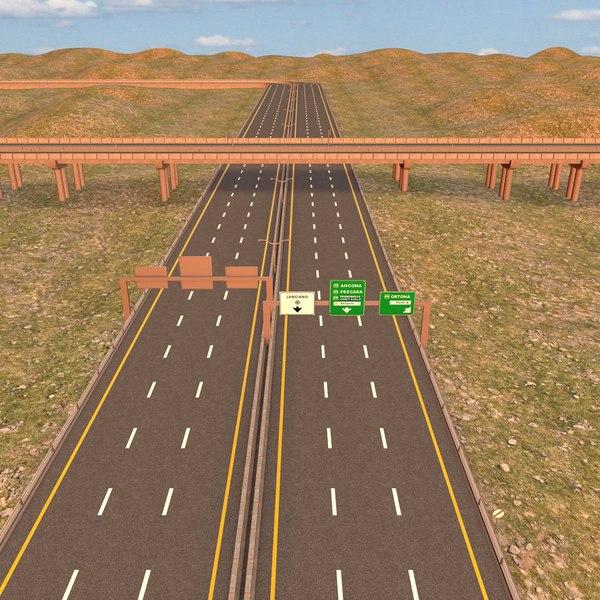 3d highway road motorway model