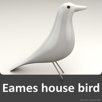eames house bird white 3d model