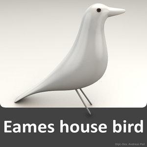 eames house bird white 3d model