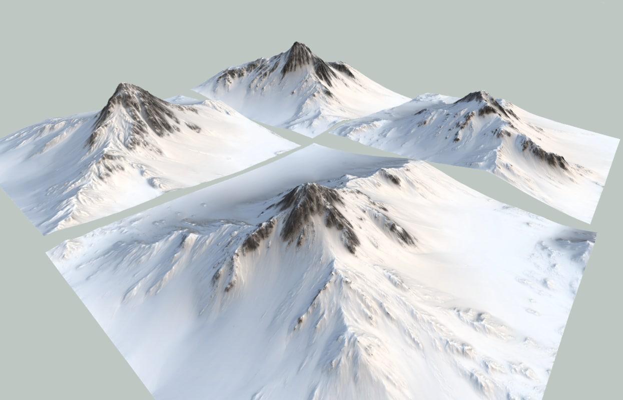 3d snow mountains model