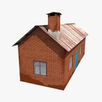 3d old brick house model