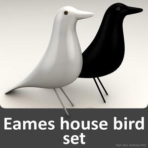 3d model set eames house bird