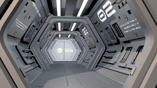 c4d sci-fi spaceship corridor