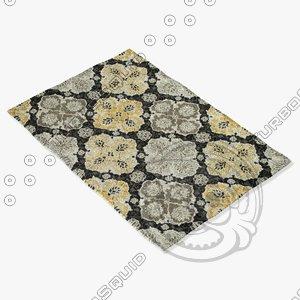 3d loloi rugs fc-25 charcoal model