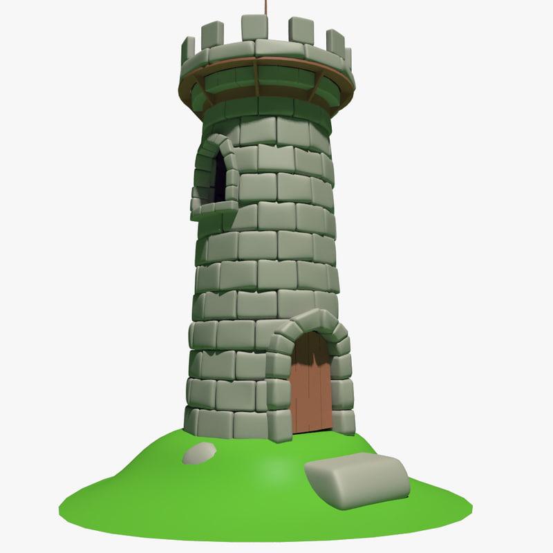 3d max cartoon tower