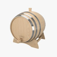wooden wine barrel 3d model