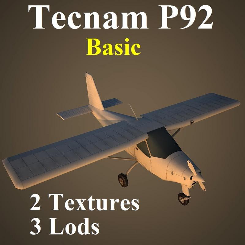 3d model tecnam p92 basic